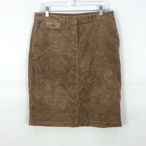 LL Bean Brown Stretch Corduroy Chino Style Classic Fit Skirt